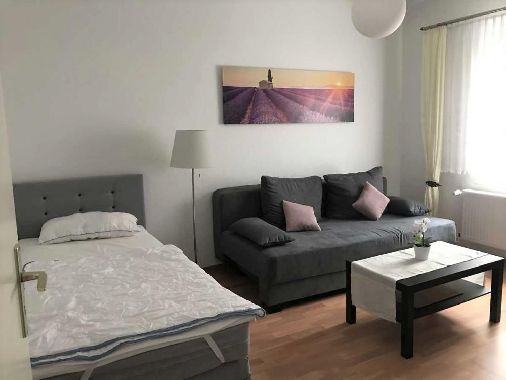 Wohnraum mit Bett und Schlafcouch